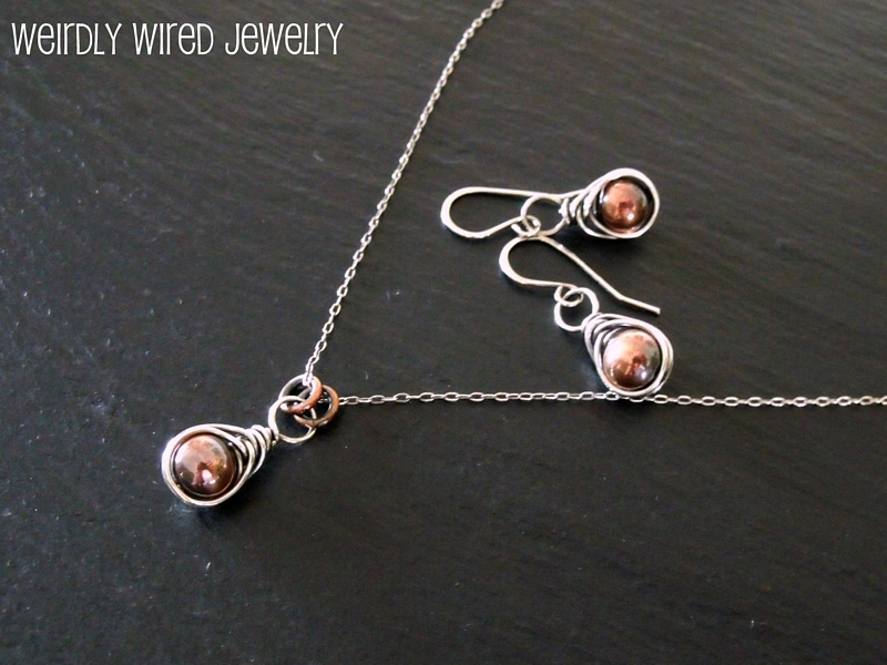 Silver Wrapped Copper Drops Set