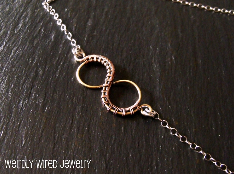 Mixed Metal Wire Wrapped Infinity Necklace
