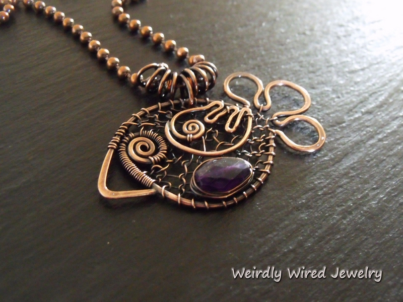 Wired Copper Chicken with Amethyst_CBC
