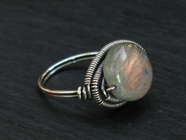 Labradorite Coin Ring