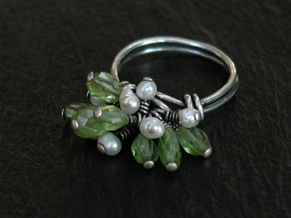 Peridot and Pearl Pom Pom Ring