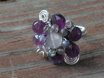Amethyst and Moonstone Flower Ring