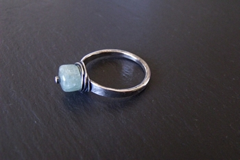 Aquamarine Sterling Rivet Ring