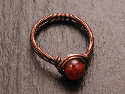 Carnelain and Copper Coiled Ring