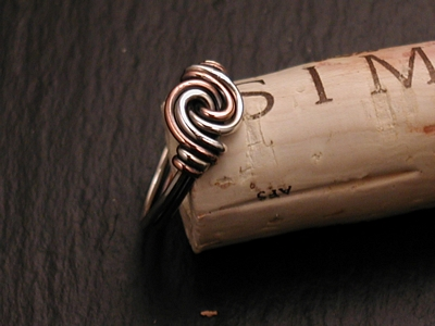 Copper and Sterling Swirl Ring