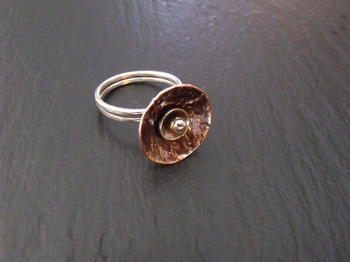 Copper Disc and Sterling Ring