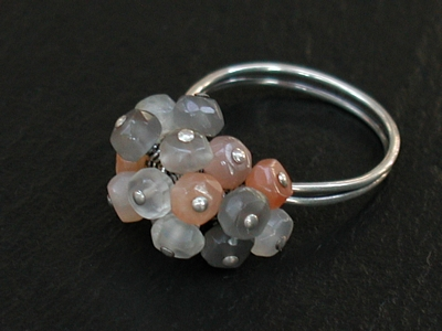 Multi Moonstone Pom Pom Ring