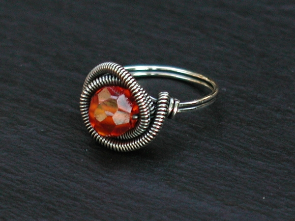 Orange Cubic Zirconia Ring