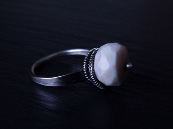 Pink Peruvian Opal and Sterling Ring