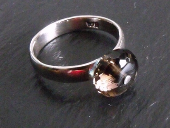 Smokey Quartz Sterling Rivet Ring