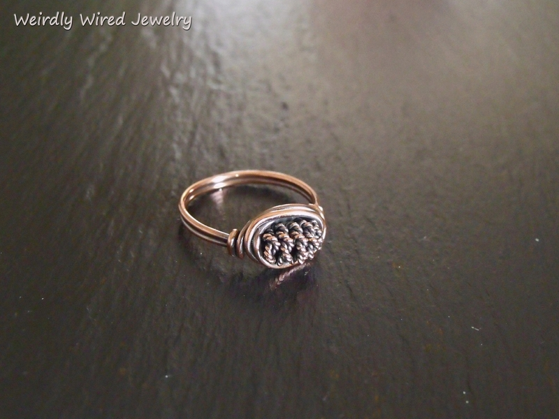 Twisted and Coiled Copper Bead Ring