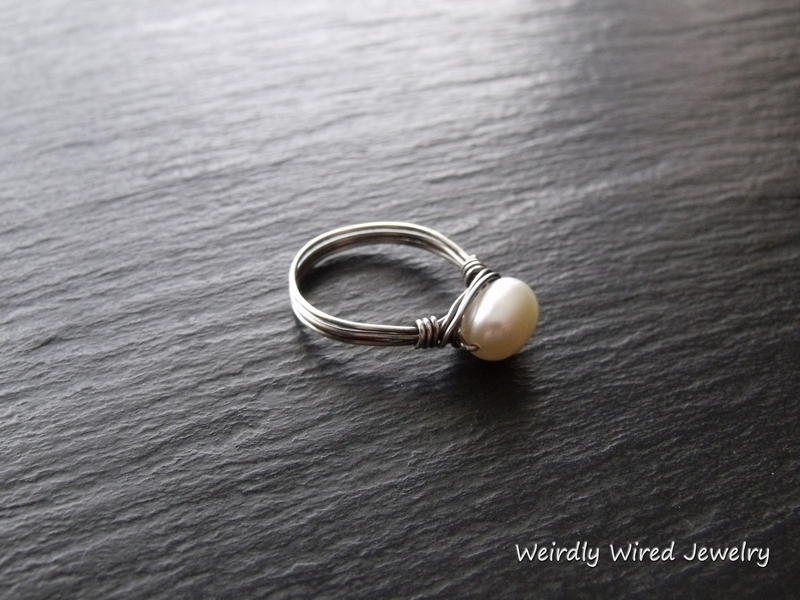 Silver Wrapped Pearl Ring