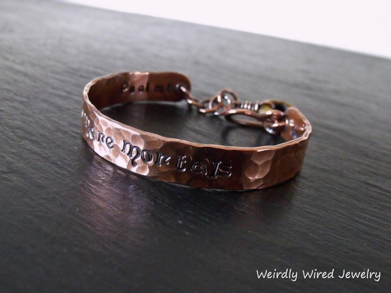 Stamped Copper Cuff-Fiona Font