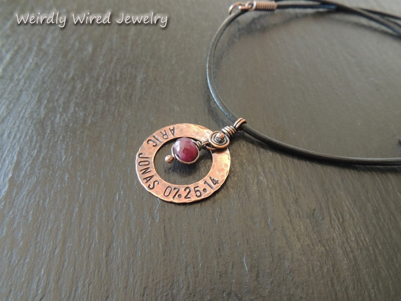 Copper washer stamped with birthstone