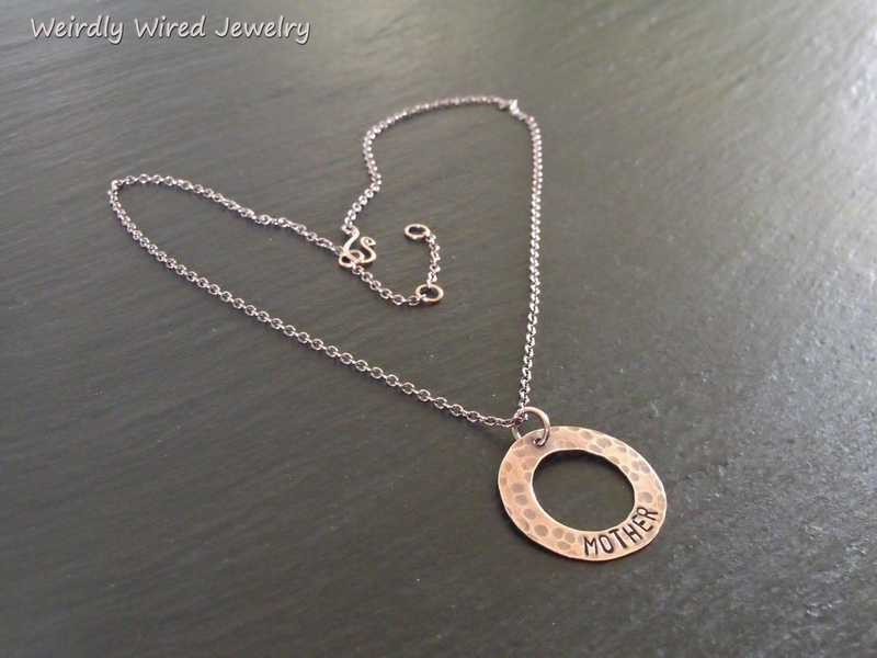 Stamped Copper Washer-MOTHER necklace-PJ