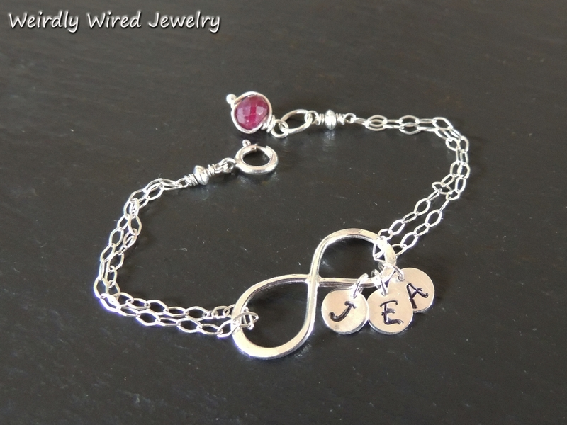 Infinity Bracelet with Stamped Initials
