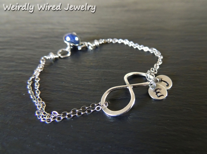 Mothers Infinity Bracelet with Stamped Charms