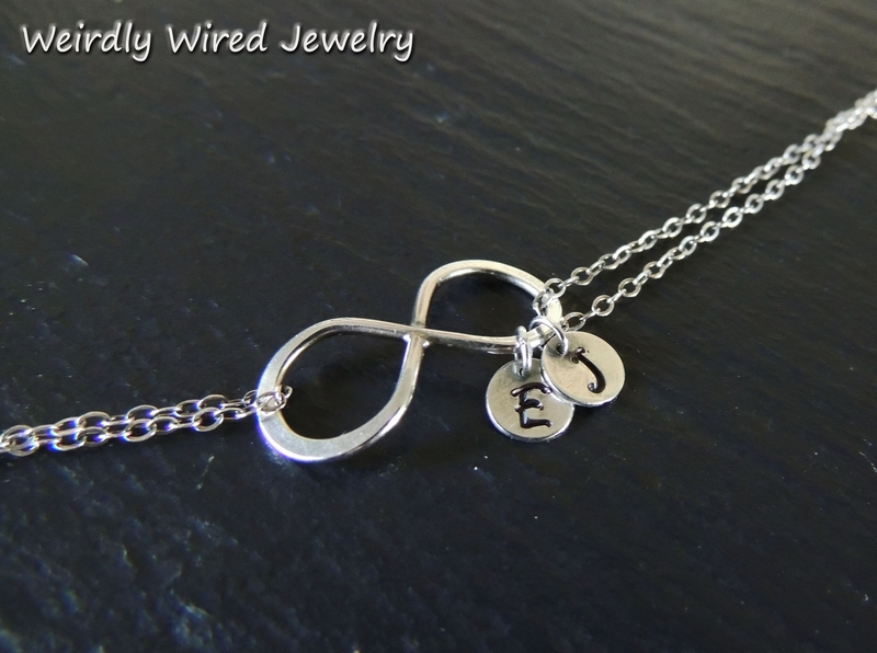 Infinity Bracelet with Stamped Charms Close Up