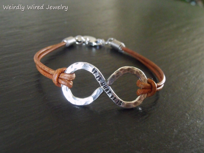 Women's Infinity Bracelet with Brown Leather