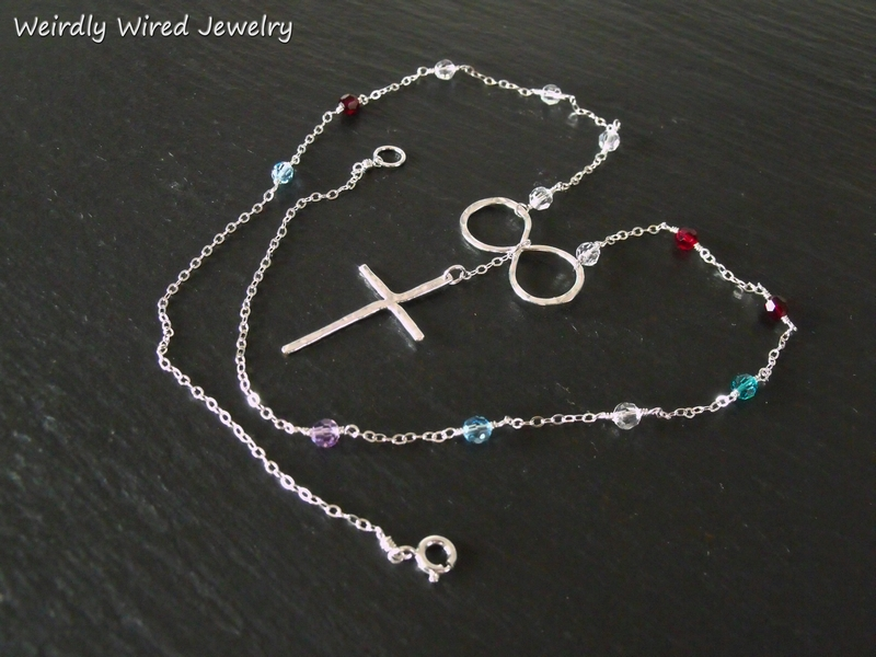 Infinity and Cross Necklace-Swarovski Birthstones