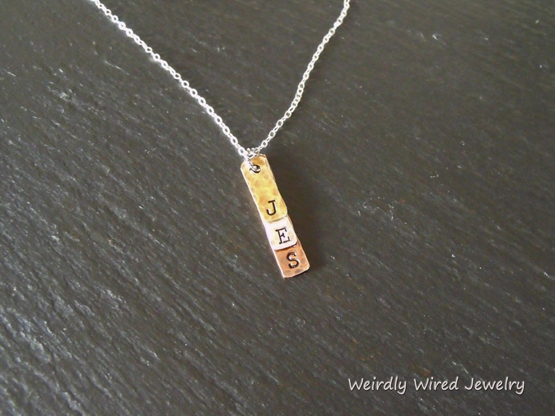 Stamped Intial Bar Pendant