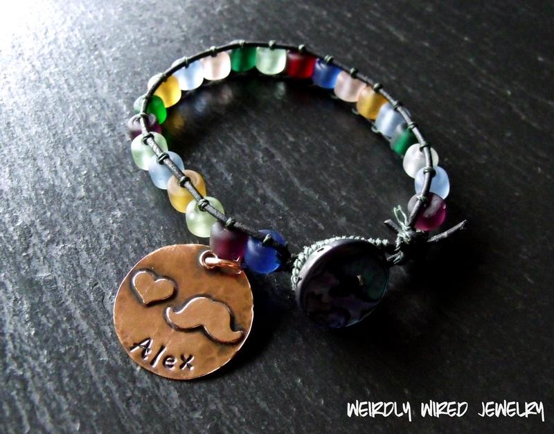 Leather Wrap Bracelet with Moustache Charm