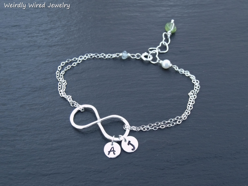 Infinity Bracelet with Initials and Birthstones
