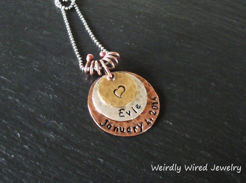 Stamped Mothers Pendant with name and date