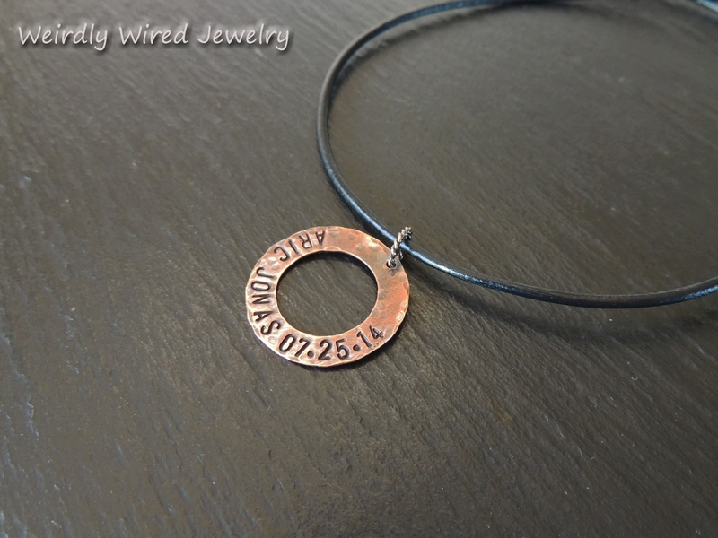 Dad's Copper washer stamped necklace