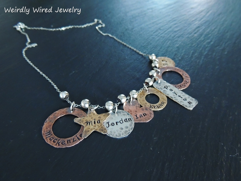 Stamped Grandmothers Necklace with eight names