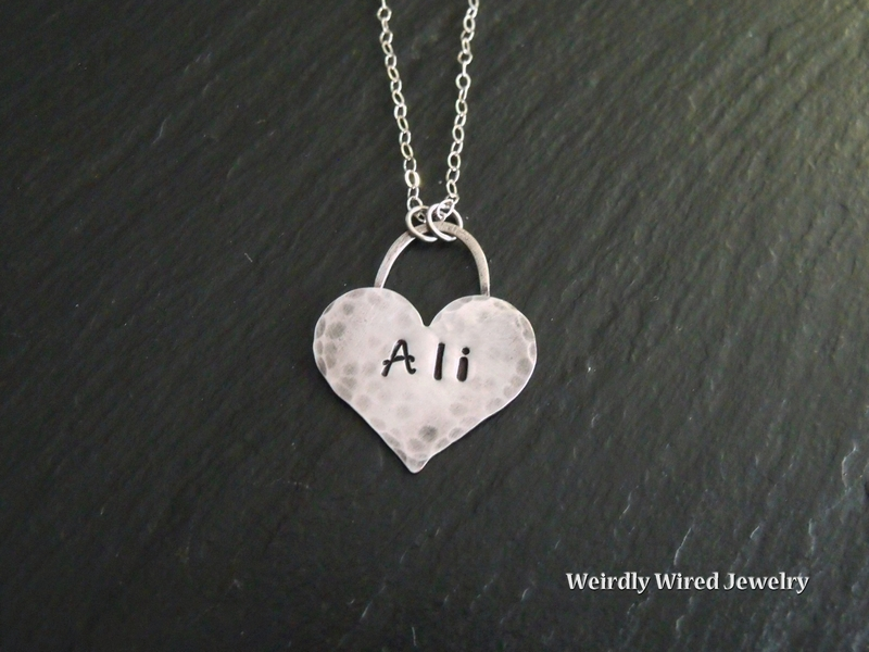 Stamped Heart Pendant