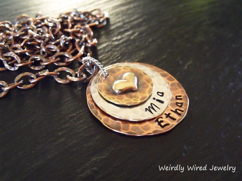 Stamped Mother's Necklace with Puffy Heart