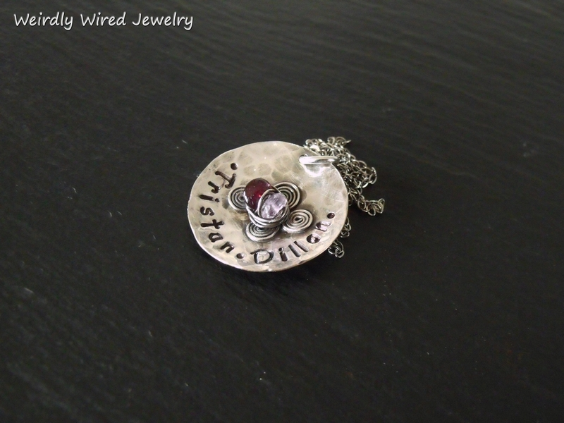 Stamped Mothers Pendant with birthstones and spirals