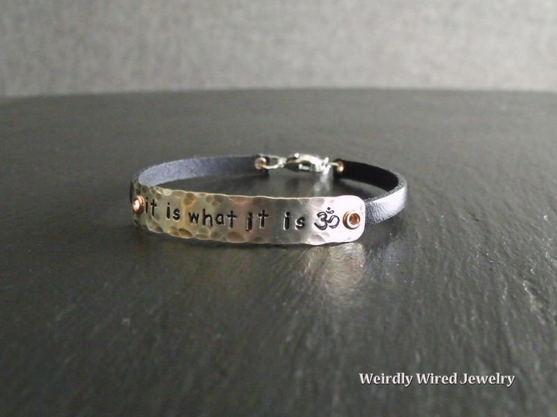 Stamped Plate on Leather Bracelet