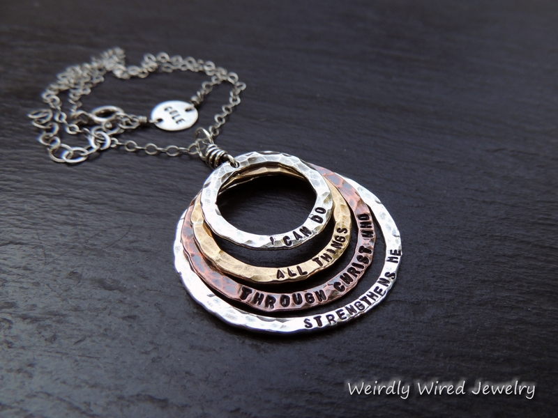 Stamped Rings Remembrance Necklace