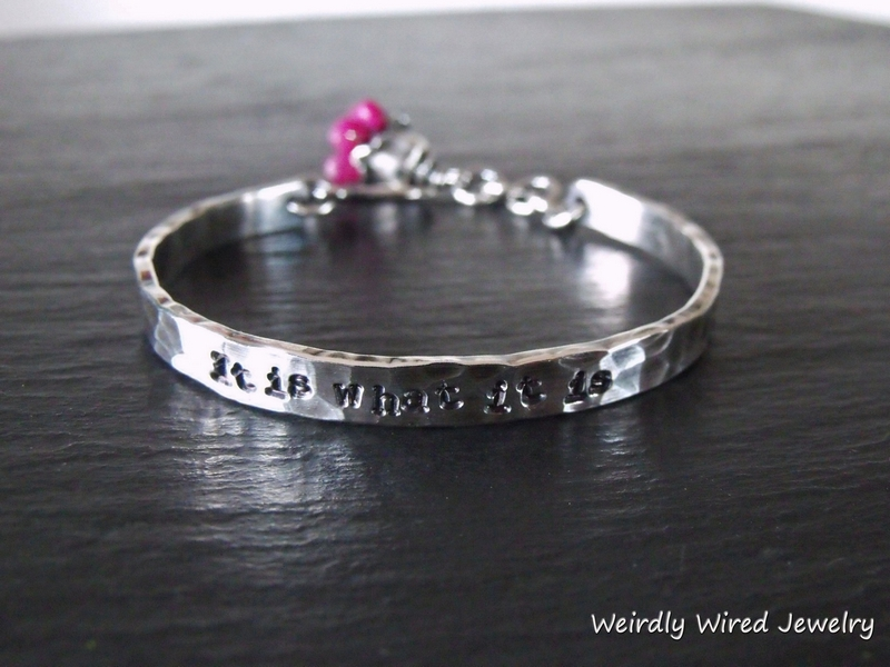 Stamped Sterling Cuff-Ruby Bouquet