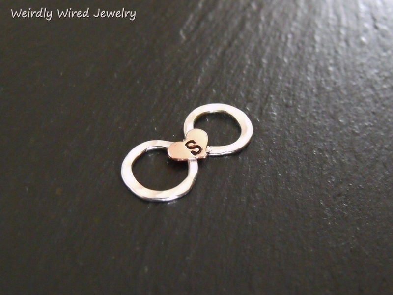 SS Infinity with Copper Heart Initial Slide Pendant