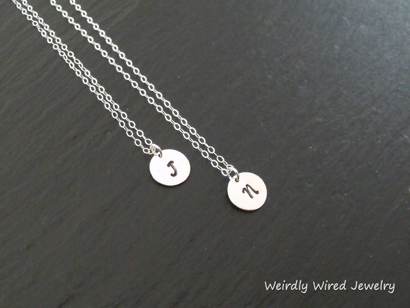 Stamped Initial Charm Necklaces