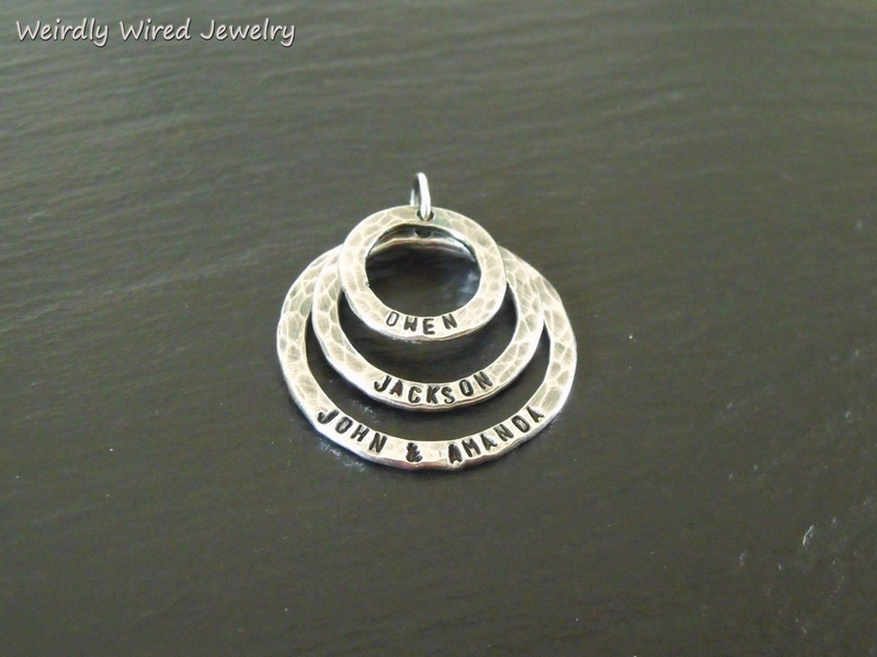 Sterling Stamped Rings-Mothers Necklace