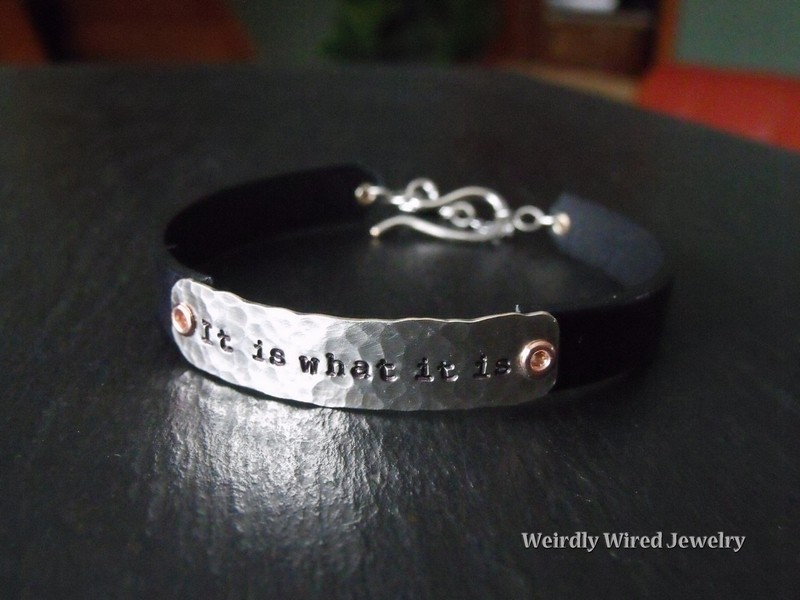 Wide Leather Stamped Bracelet